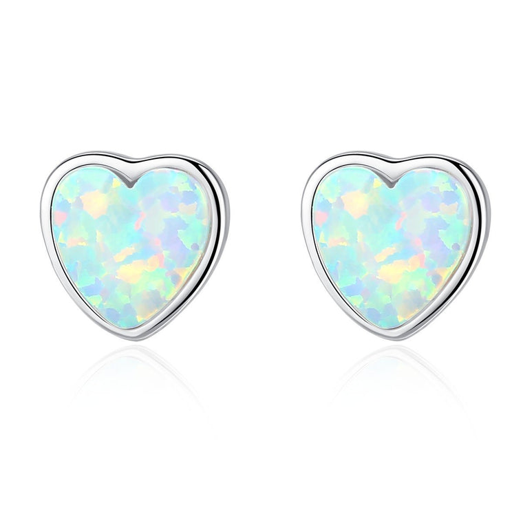 925 Sterling Silver Heart Opal Earrings for Women & Girls