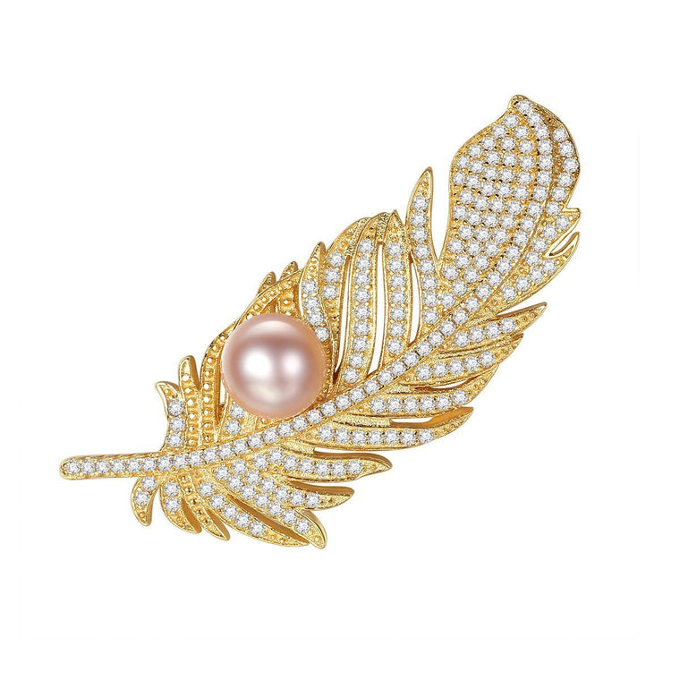 925 Sterling Silver Jewelry Natural Pearl Brooch