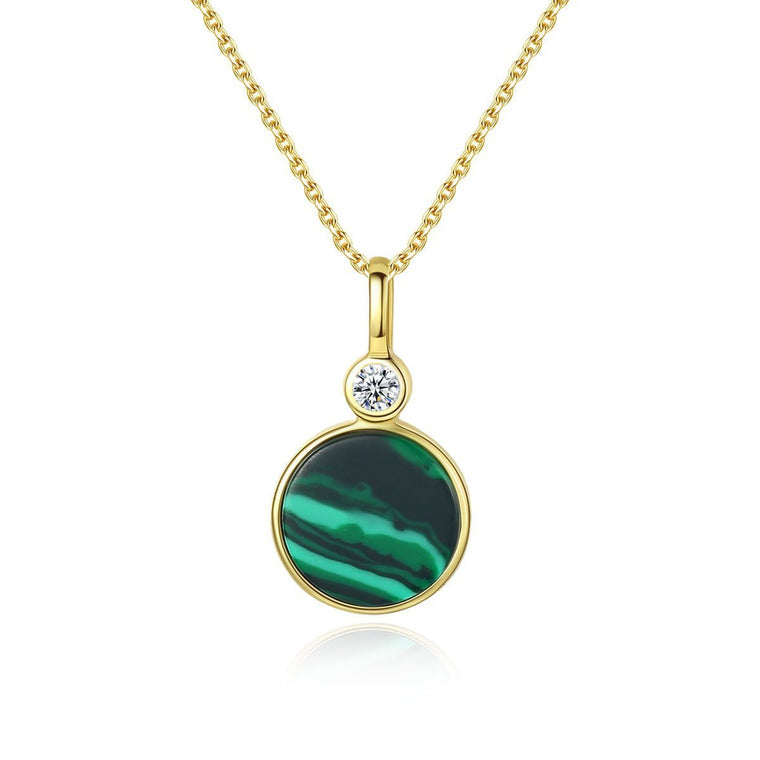 925 Sterling Silver Malachite Pendant Necklace Jewelry for Women