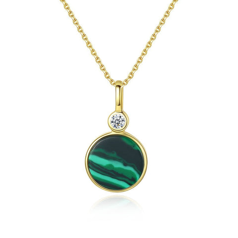 925 Sterling Silver Malachite Pendant Necklace Jewelry