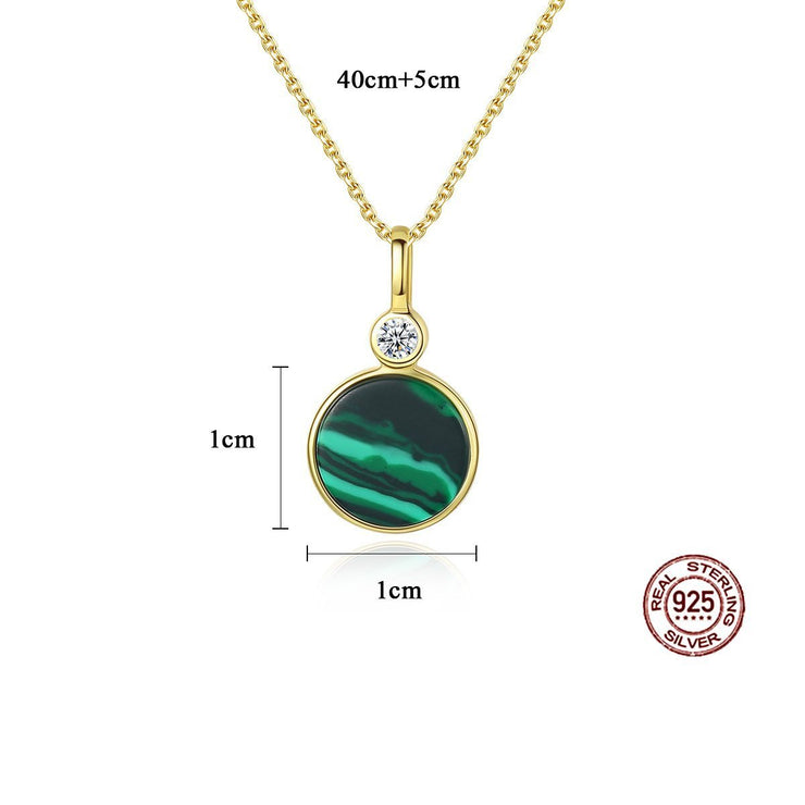 Gift for women gift for girl birthday present men girlfirend wife daughter925 Sterling Silver Malachite Pendant Necklace Jewelry for Women