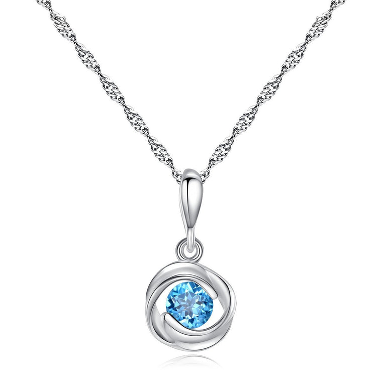 925 Sterling Silver Blue Topaz Pendant Necklace Jewelry