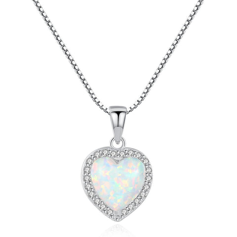 Amore Heart Necklace - Silver - Opal