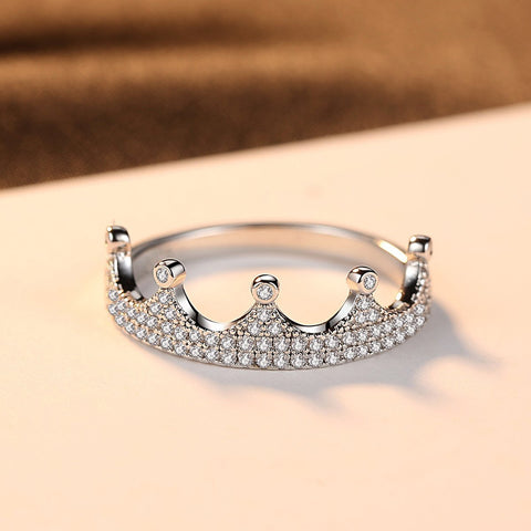 18K White Gold & Sterling Silver Crown 0.5ct Pavé Ring
