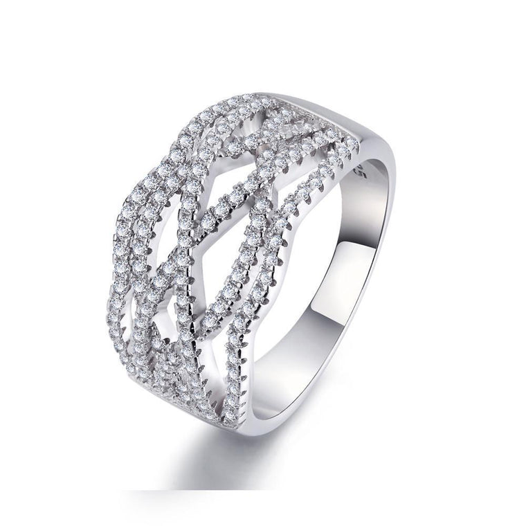 18K White Gold & Sterling Silver 0.5ct Pavé Ring