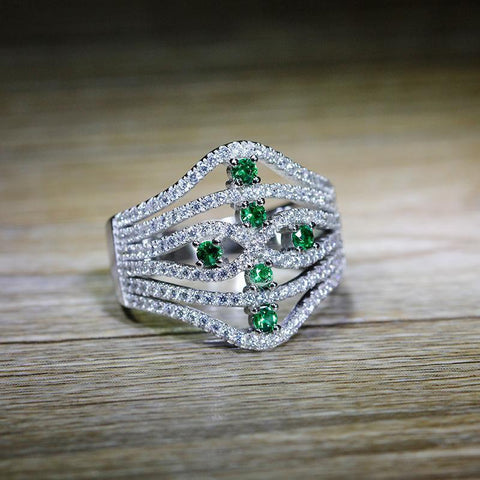18K White Gold & Sterling Silver 1.0ct Emerald Green Pavé Ring
