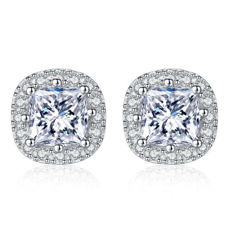 1ct 925 Sterling Silver Stud Earrings Studs
