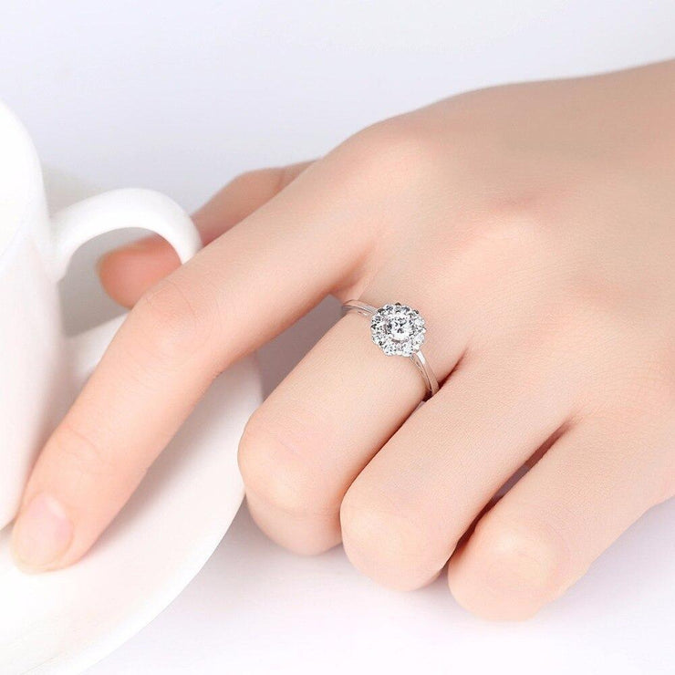 Gift for women gift for girl birthday present men girlfirend wife daughter925 Sterling Silver Zircon Diamond Ring Jewellery for Women