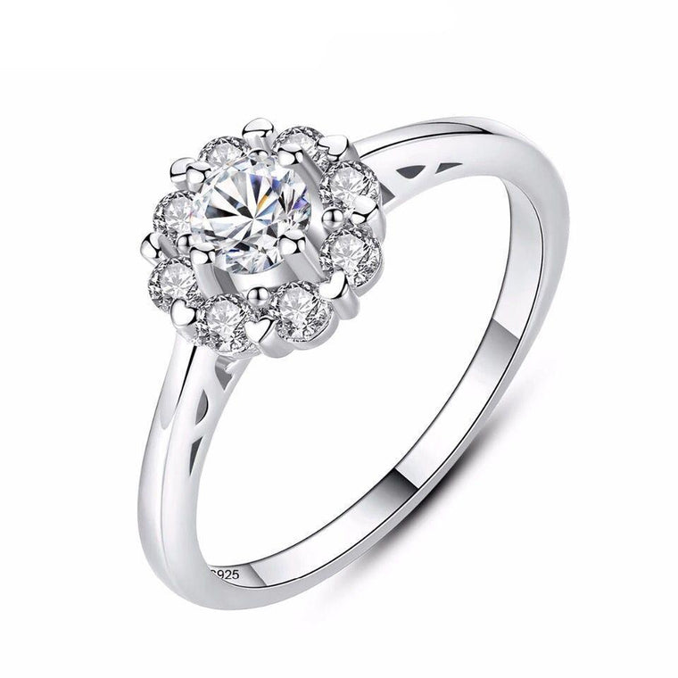 925 Sterling Silver Zircon Diamond Ring Jewellery for Women