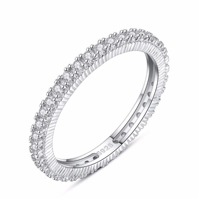 925 Sterling Silver Zircon Diamond Ring Jewelry