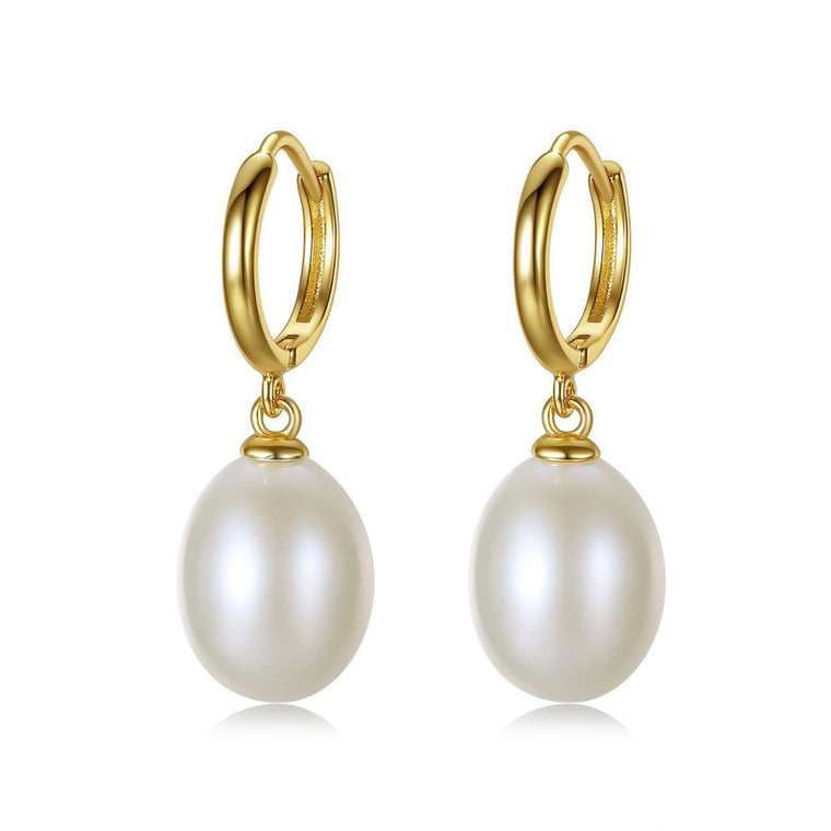 Classic 18K Gold Finish Natural Pearl Earrings