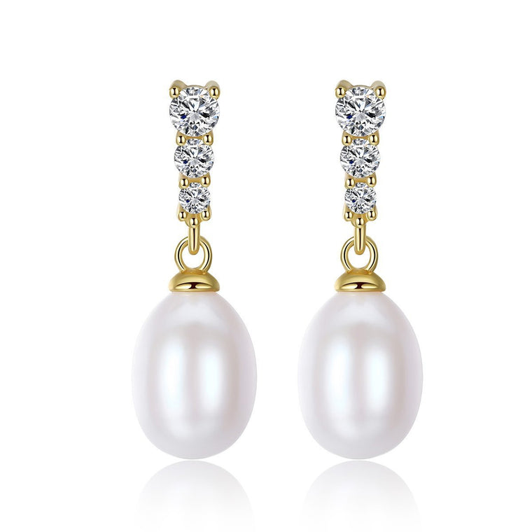 Natural Pearl 18K Gold Finish Drop Earrings Earrings