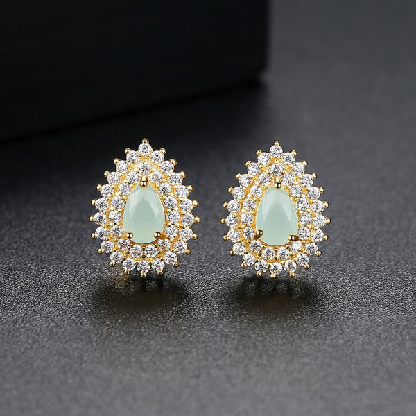 Gift for women gift for girl birthday present men girlfirend wife daughterKorean Earings fashion Opal Jewelry Gold Stud Earrings for Women Accessories Studs