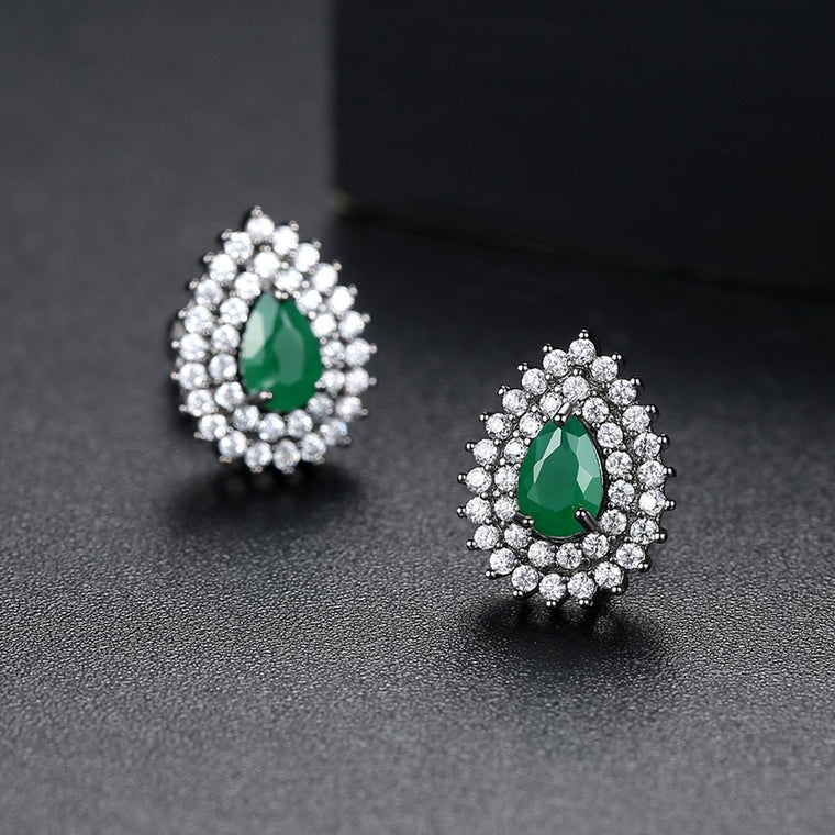 Korean Earings fashion Opal Jewelry Gold Stud Earrings for Women Accessories Studs