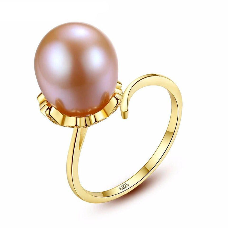 Natural Freshwater Pearl 925 Sterling Silver Ring Jewelry for Women