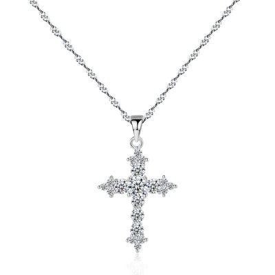 Gift for women gift for girl birthday present men girlfirend wife daughterS925 Silver Chain Cross Pendant Necklace for Women