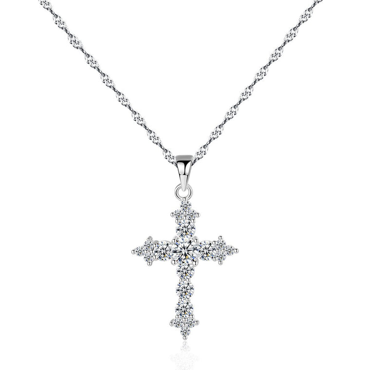 S925 Silver Chain Cross Pendant Necklace