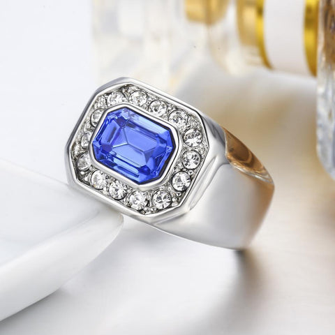 wholesale and dropshipping Swarovski Crystal Men Ring Size 10 11 12 Big Rings for Women Jewelry