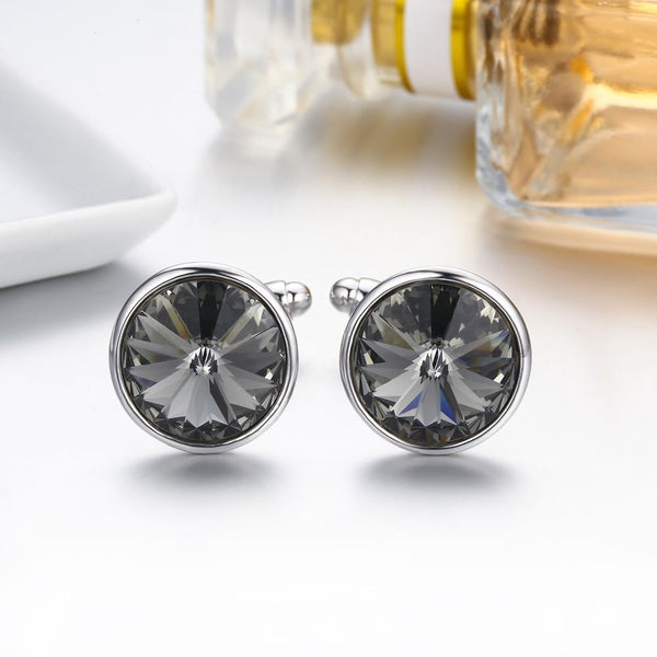 Gift for women gift for girl birthday present men girlfirend wife daughterSwarovski Crystal Shirt Cuff Links White Gold Plated Wedding Cufflinks for Mens