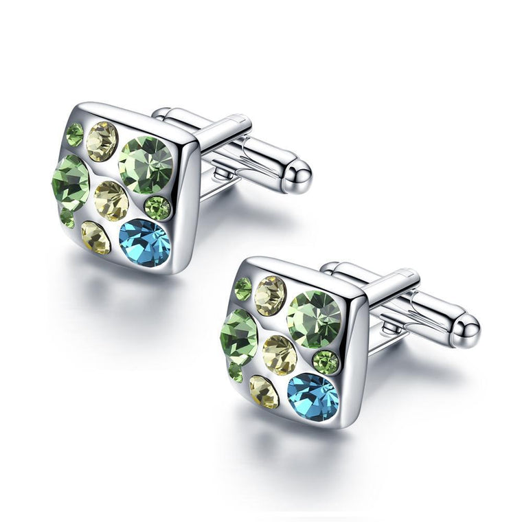 Made with Swarovski® Crystal Shirt Cuff Links 18ct White Gold Finish Wedding Cufflinks for