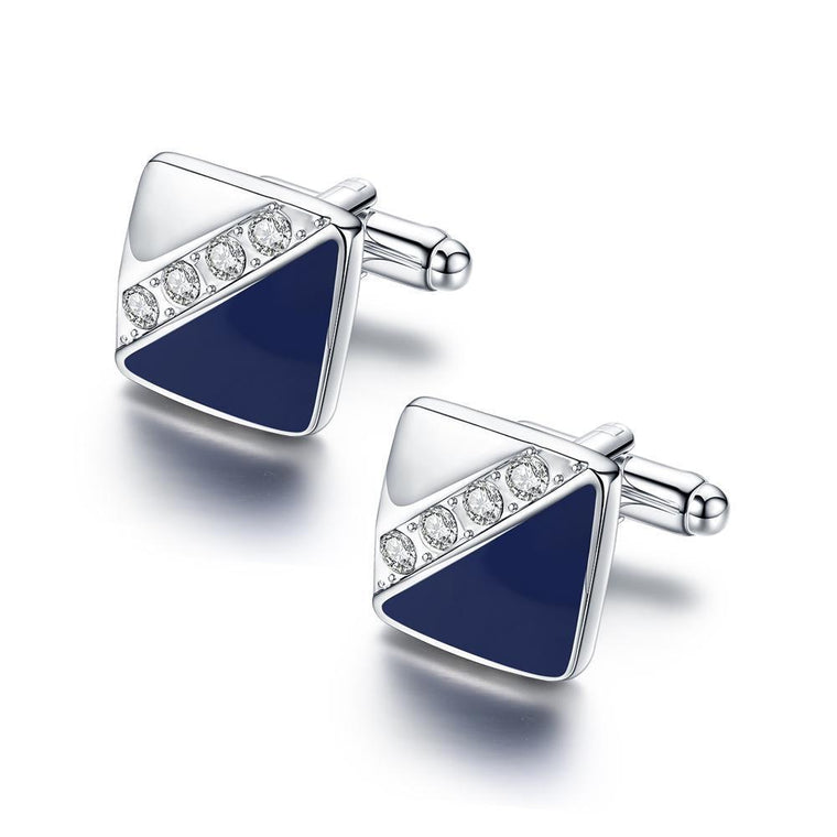 Swarovski Crystal Shirt Cuff Links White Gold Plated Wedding Cufflinks for Mens