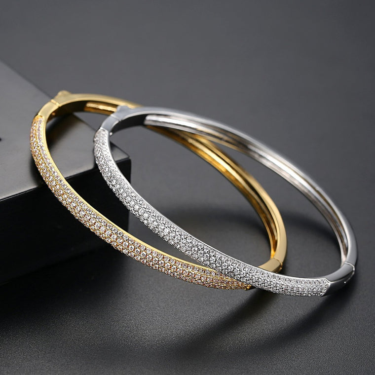 White/ 18K Gold Finish Fashion Jewelry Bracelet Bangles