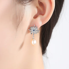 Gift for women gift for girl birthday present men girlfirend wife daughterWhite Gold Plated 925 Silver Asymmetrical Earrings 2019 Drop Dangle Star Earring