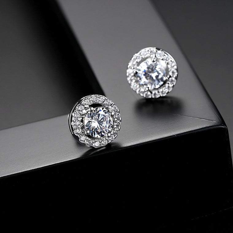 White Gold Plated Cute Stud Hypoallergenic Earrings for Women Accessories Studs