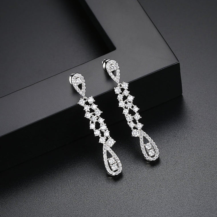 18ct White Gold Finish Fashion Jewelry Drop Dangle Earrings