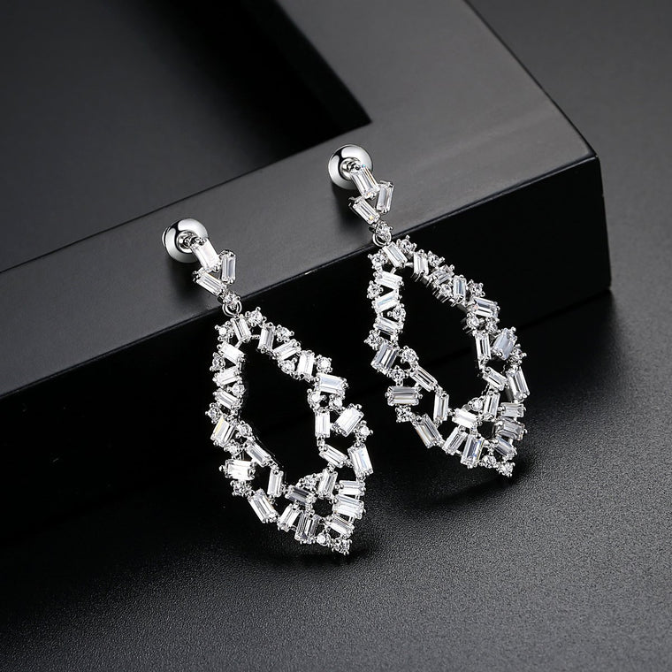 'Brillare' Drop Earrings - 18K White Gold Finish