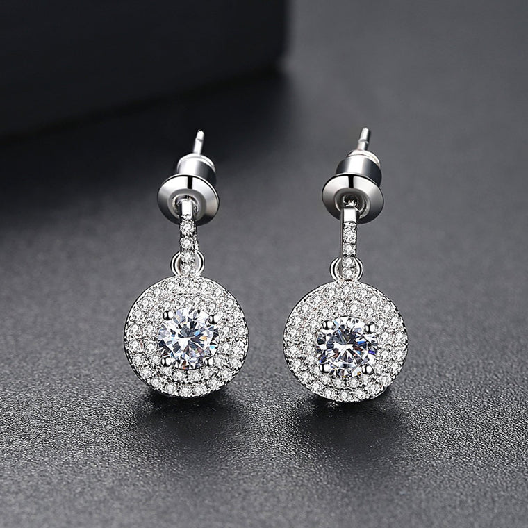 'Brillare' Earrings - 18K White Gold Finish