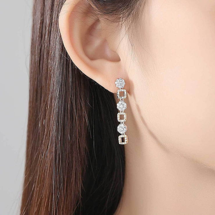 Gift for women gift for girl birthday present men girlfirend wife daughterWhite Gold Plated Earings Fashion Jewelry Drop Dangle Earrings for Women