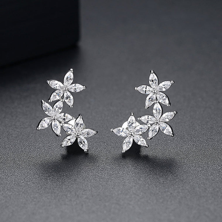 18ct White Gold Finish Fashion Jewelry Stud Earrings
