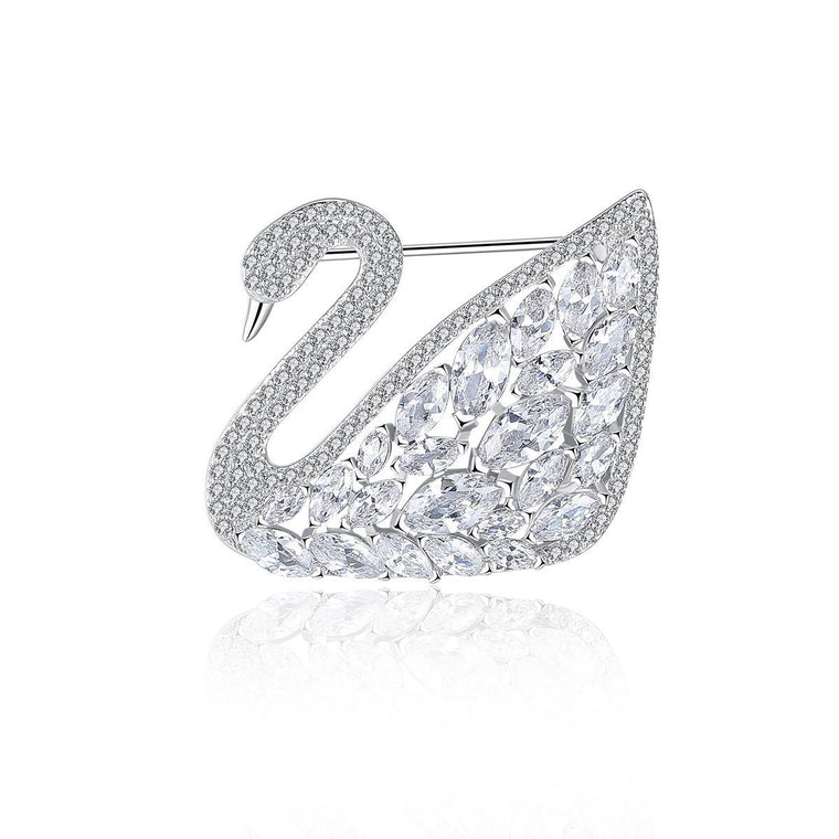 18ct White Gold Finish Jewelry Costume Brooch