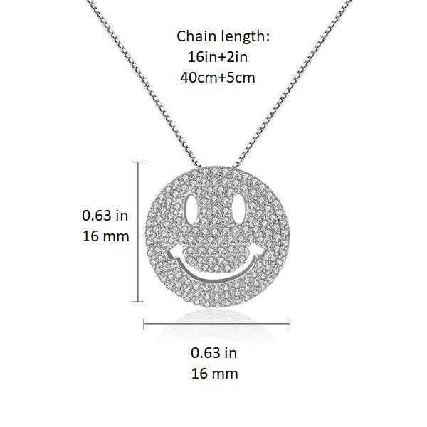 Smiley Pendant Necklace - 18K 18ct White Gold Finish