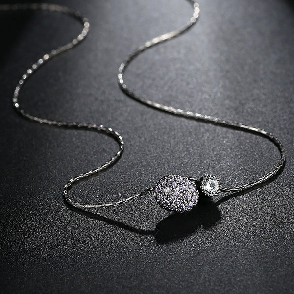 White Gold Plated Jewelry Cubic Zirconia Necklace Women