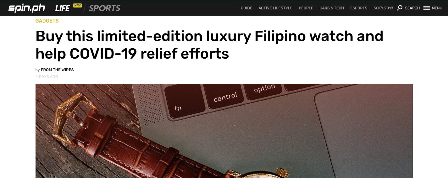 Buy this limited-edition luxury Filipino watch and help COVID-19 relief efforts - Spin.ph