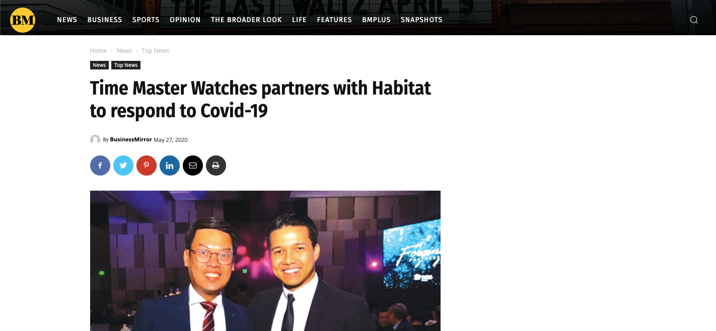 Time Master Watches partners with Habitat to respond to Covid-19 - Business Mirror