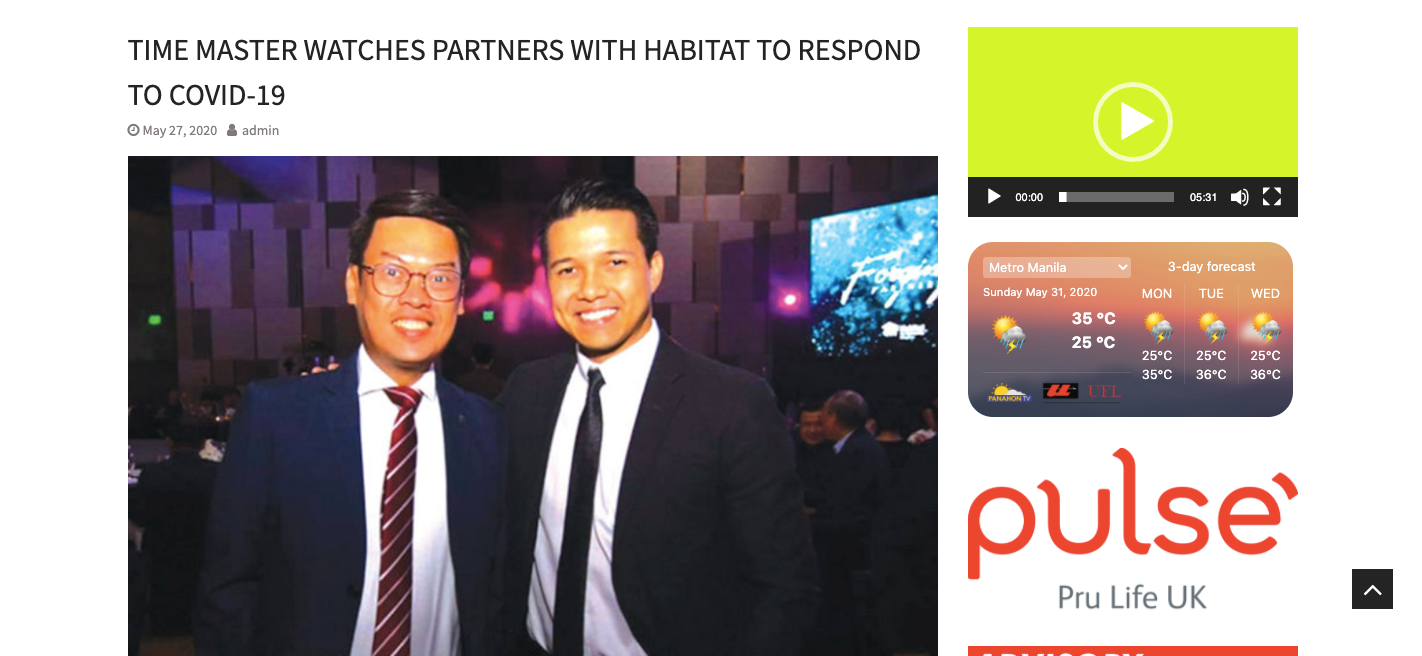 Time Master Watches partners with Habitat to respond to Covid-19 - Pilipino Mirror