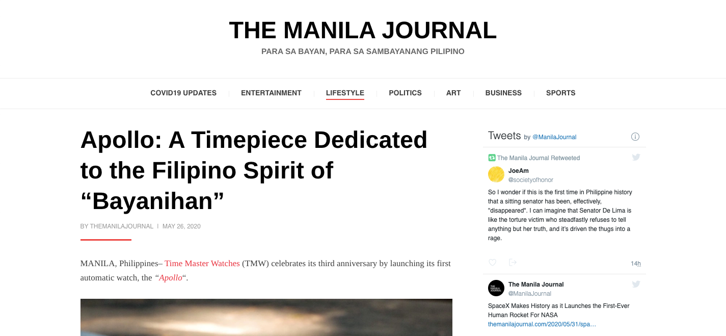 "Apollo: A Timepiece Dedicated to the Filipino Spirit of ""Bayanihan"" - The Manila Journal"