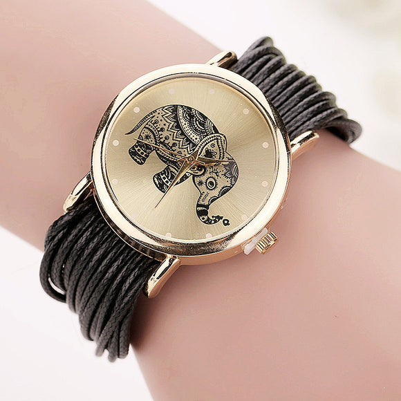 Genuine Leather Strap Womens Elephant Watch.