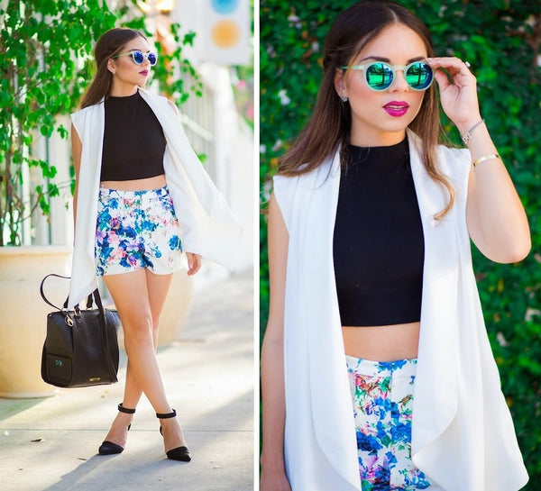 Date dress Dressy shorts/rompers and mirrored sunglasses
