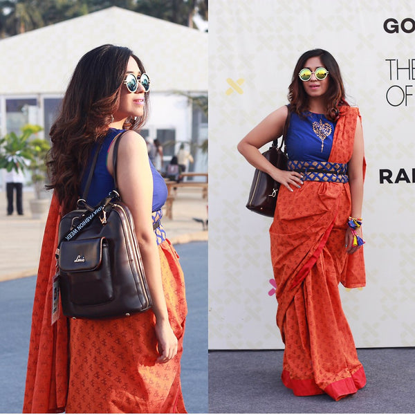 Date dress sari and round sunglasses