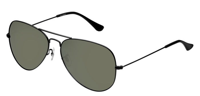 Midnight Black Medium Pilot Polarized Sunglasses For Men - Marty - Side Angle
