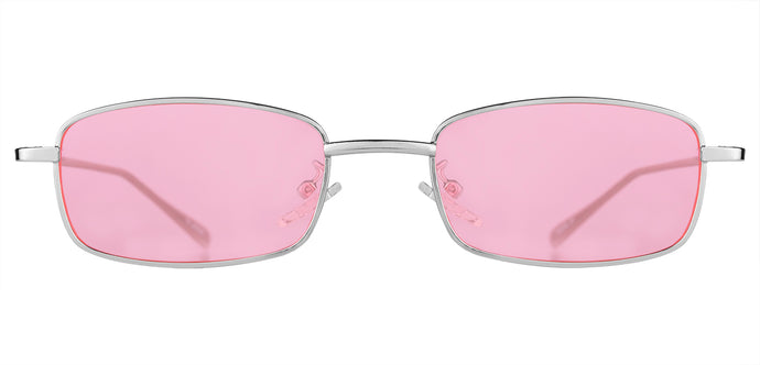 Rose Silver Rectangle Non Polarised Sunglasses for Women Spinster Front Angle