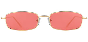 Red Gold Rectangle Non Polarised Sunglasses for Women Spinster Front Angle