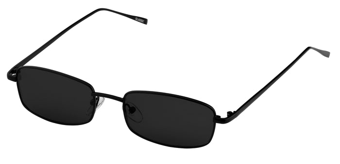 Midnight Black Rectangle Non Polarised Sunglasses for Women Spinster Side Angle