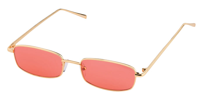 Red Gold Rectangle Non Polarised Sunglasses for Women Spinster Side Angle