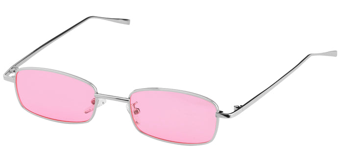Rose Silver Rectangle Non Polarised Sunglasses for Women Spinster Side Angle