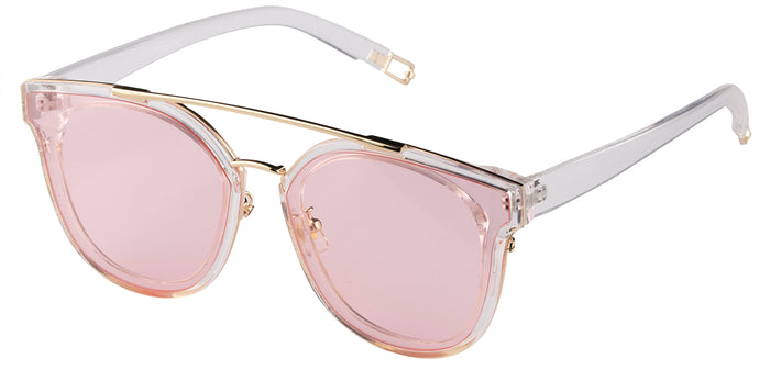 Crystal Pink Cat Eye Non Polarised Sunglasses for Women Julie Side Angle